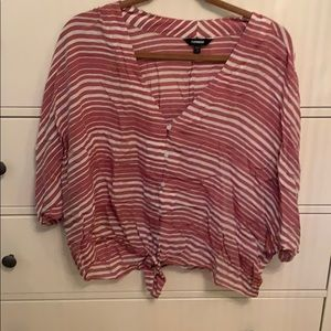 Striped front tie loose shirt